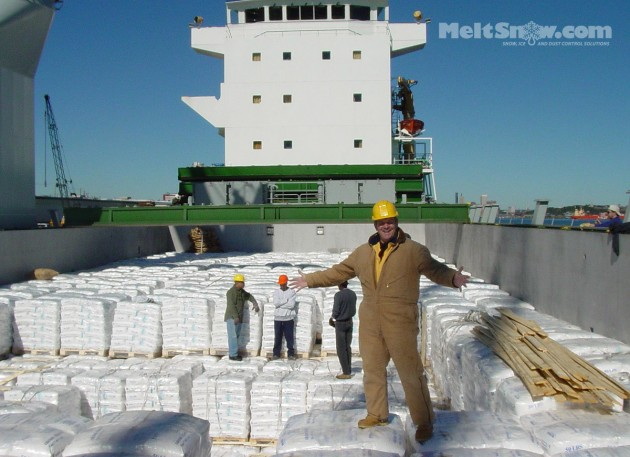Ship unloading 50lb bagged calcium chloride flake